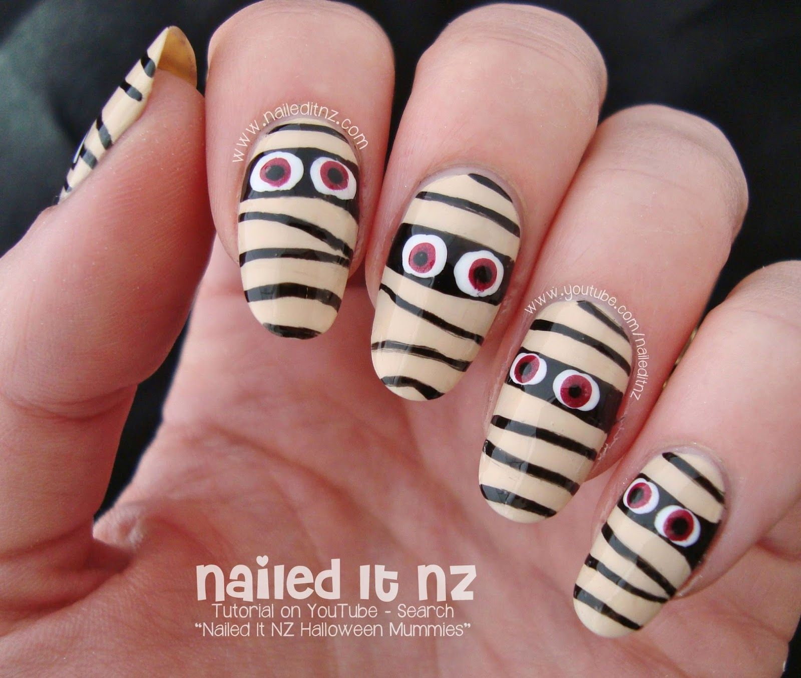 Easy Mummy Nail Art Tutorial | Nail art tutorial, Nails ...