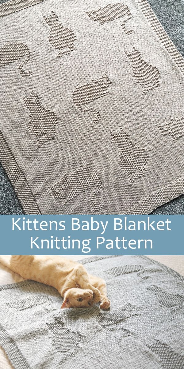 Knitting Pattern for Kittens Baby Blanket  #knit