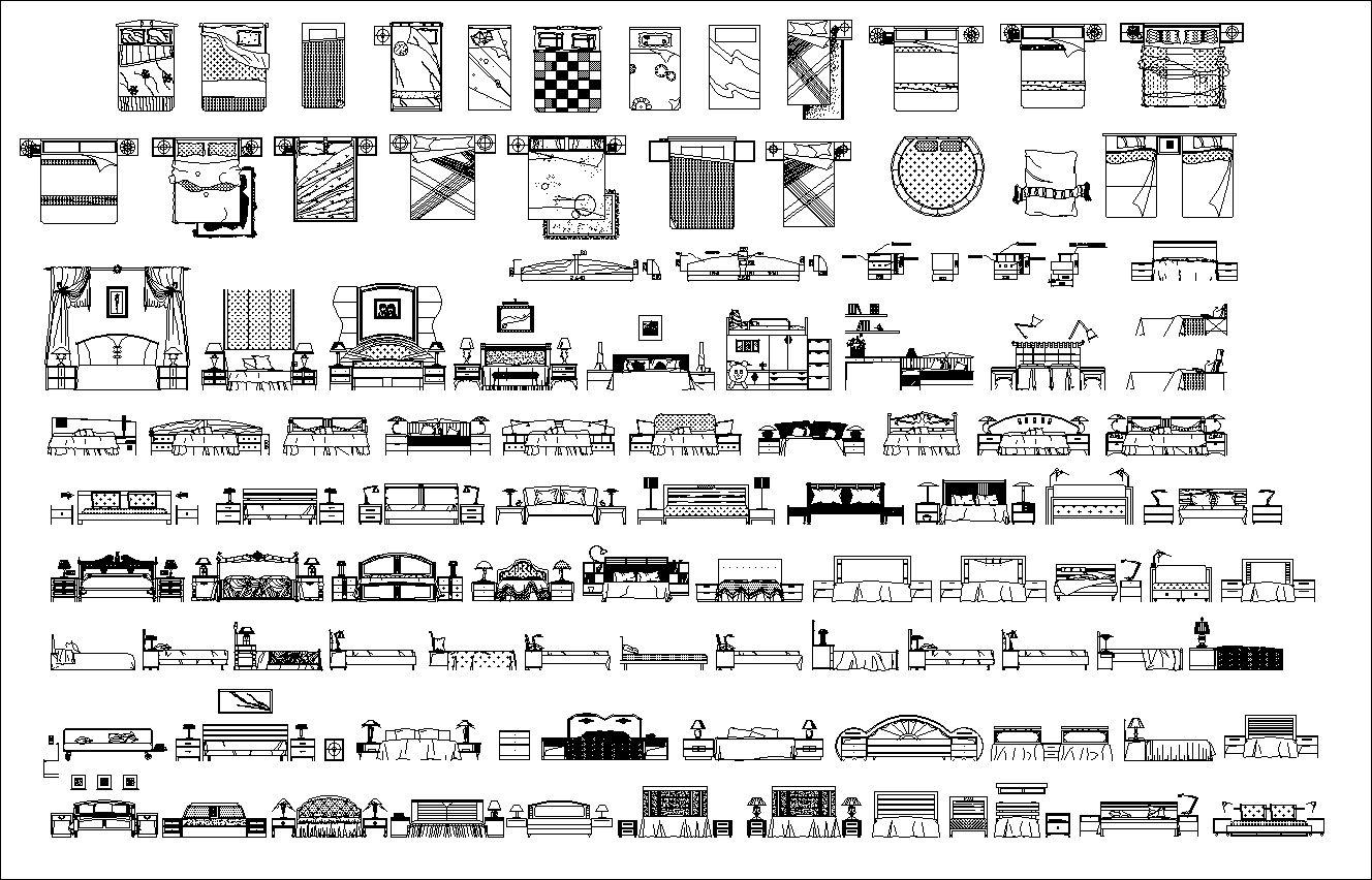 【室內設計常用CAD圖庫圖塊大全】床類床鋪立面床造型CAD圖庫圖塊大全 - 建築CAD設計資源庫 in 2020 | Sheet music ...