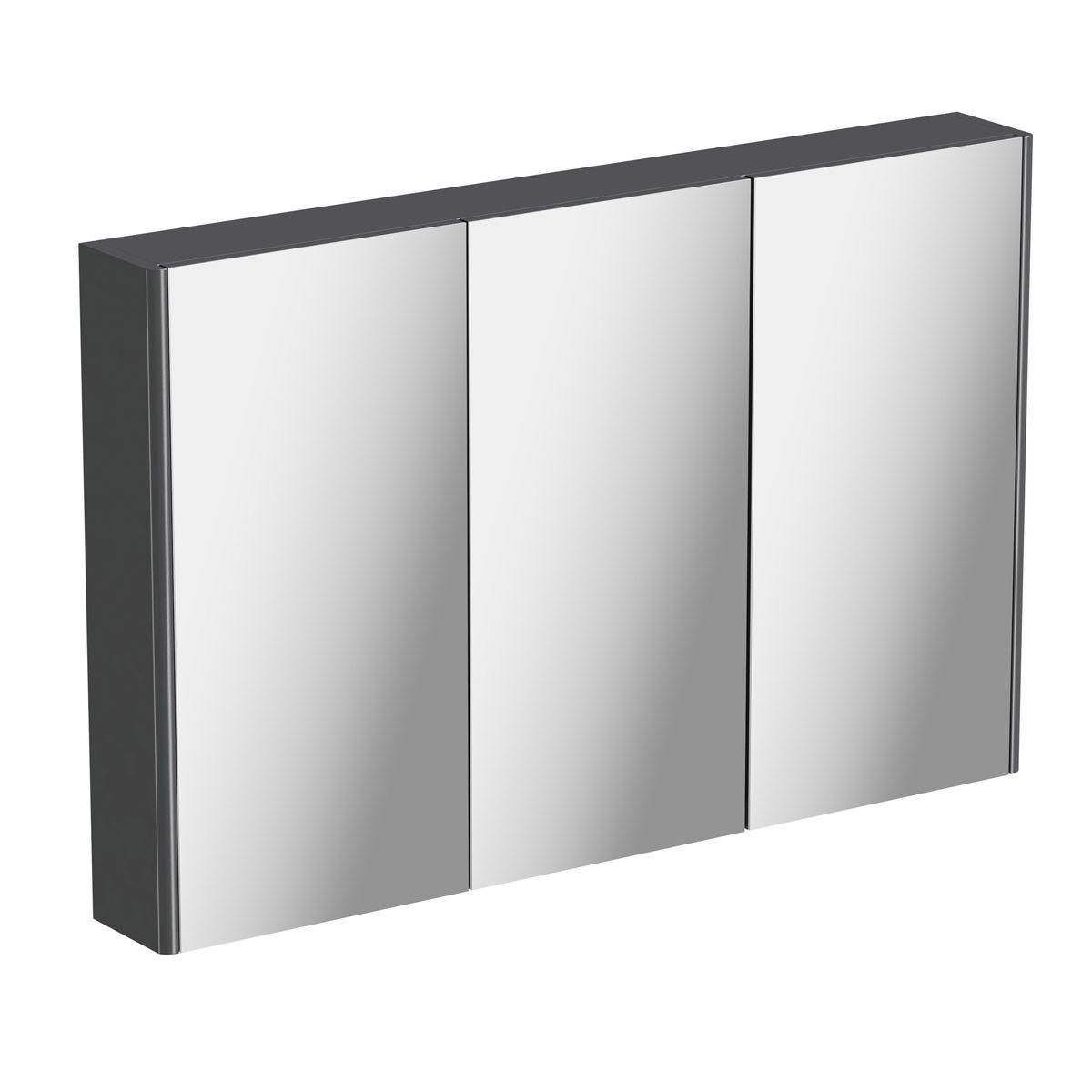 Mode Slate Gloss Grey Mirror Cabinet 650 X 1000mm Mirror Cabinets Gray Mirror Trendy Home