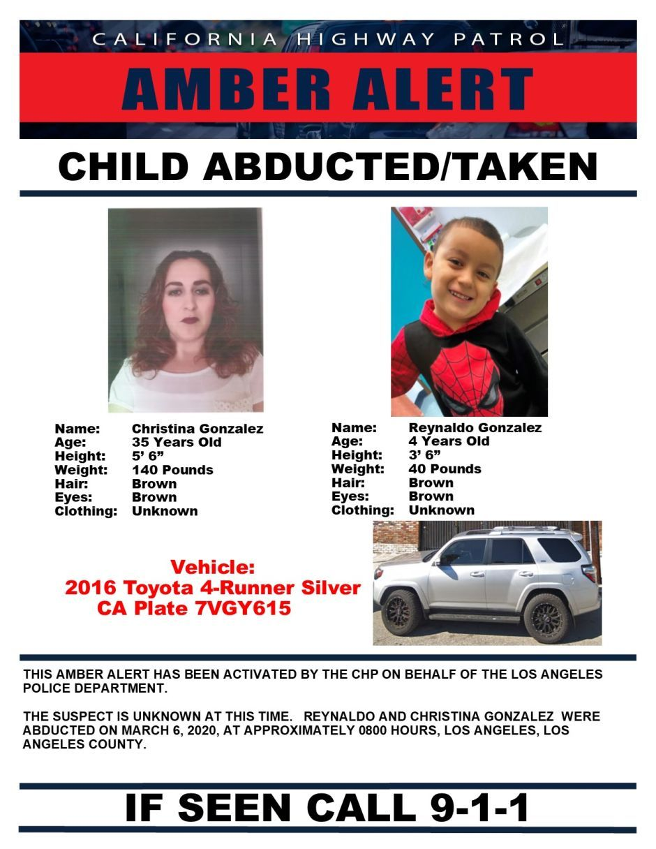 Lapd Issues An Amber Alert For A Latino Child And Woman Kidnapped In Los Angeles In 2020 Amber Alert Children Brown Outfit