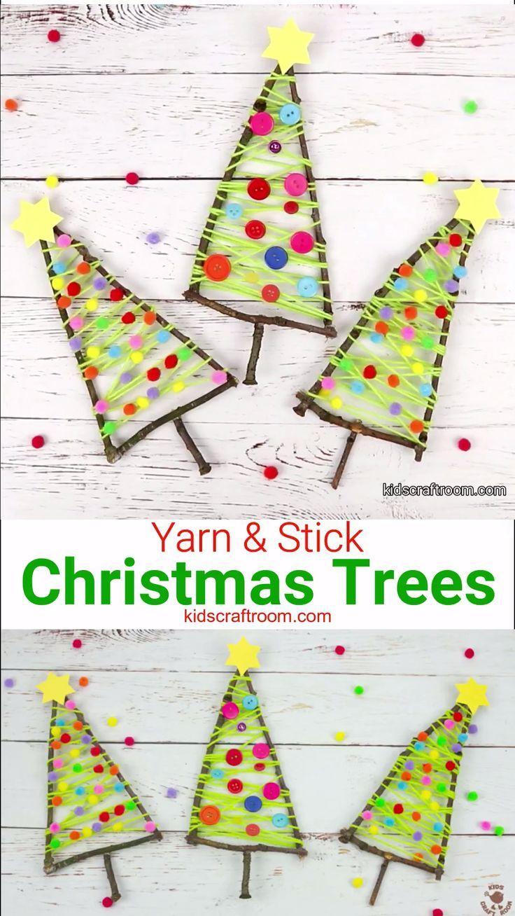 Einfache Beschäftigung für Kinder in der Weihnachtszeit. Kleine Weihnachtsbäume oder Tannenbäume aus Wolle, kleinen Pompons und Ästen gestalten. Schöne Weihnachtsdeko oder auch als Mitbringsel in der Adventszeit  #Tannenbaum #Tanne #Advent #Adventsbasteln #Adventsdeko #Baumschmuck #KIndergarten #Grundschule #Weihnachtlich #Christbaum #Weihnachtsbasteln #Ideenfürkinder
