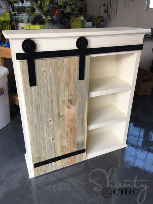 Diy Sliding Barn Door Bathroom Cabinet Bathroom Diy