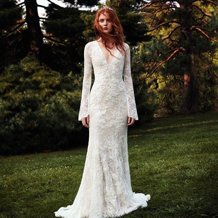 White By Vera Bell Sleeve Lace Wedding Dress David S Bridal