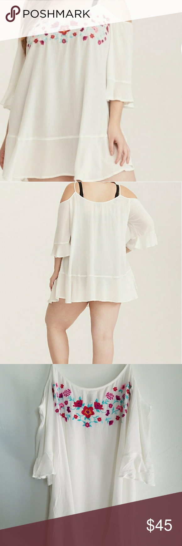 6bcb8293e0 NWT Torrid Ivory Embroidered Gauze Swim Cover-up Floral embroidery trims  the neckline of this gorgeous