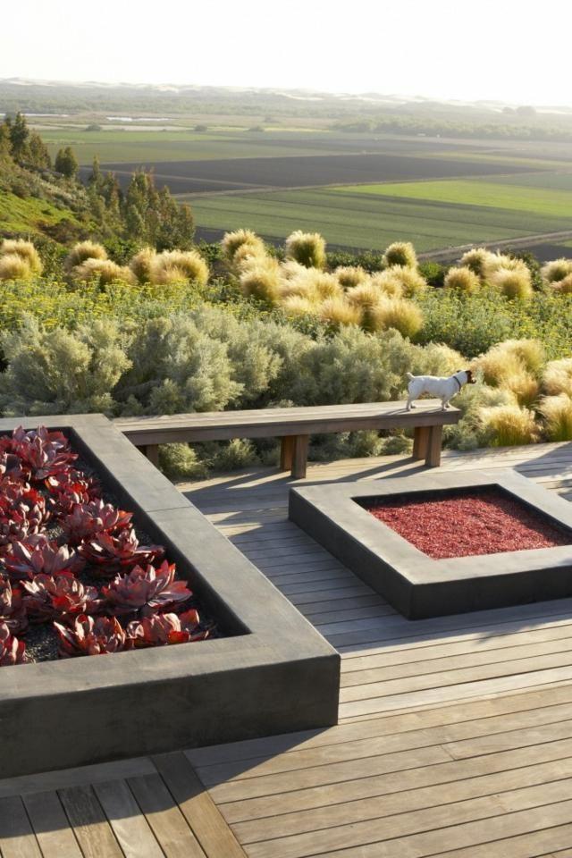 Beton Sitzbank Hochbeet Blumen Holz Terrasse Outdoor I Wohnideen
