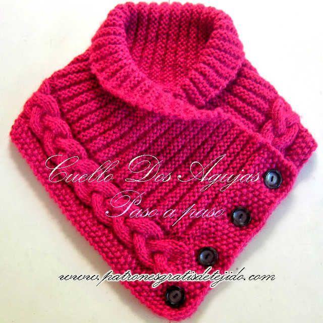Cuello tejido en Dos Agujas / Paso a paso | Crochet y Dos agujas ...