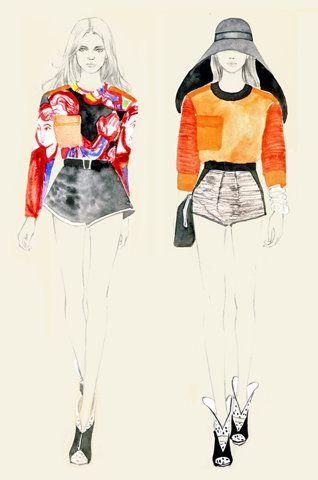 colourful fashion illustration - fashion drawings // Teri Chung