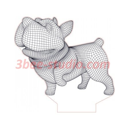Happy Playing Dog 3d Illusion Lamp Plan Vector File For Laser And Cnc 3bee Studio 3d Illusions 3d Illusion Lamp Illusions