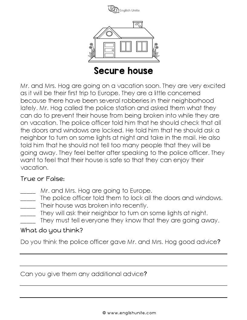 - Short Story - Secure House Short Reading Passage, Esl Reading