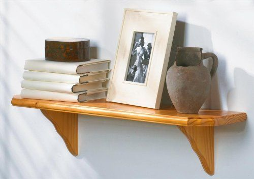 Solid Wood Shelf Kit w Curved Brackets & Oak Finish - Venezia (36 in. W) by Lewis Hyman. $42.81. 9 in. D x 1.13 in Thick. Solid Wood construction. Grooved design is ideal for displaying collectibles. 36 in. W. Made in China With its traditional design and beveled edges, this shelf kit is a perfect compliment to any decor. Its extra thick shelf. Display your collectibles in style with this attractive Venezia solid wood wall shelf kit. The set includes the sturdy clipped-corn...