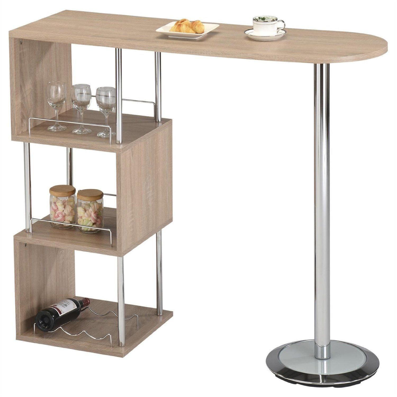 Table haute de bar mange debout comptoir vigando mdf d cor ch ne sonoma am - Table haute rangement ...