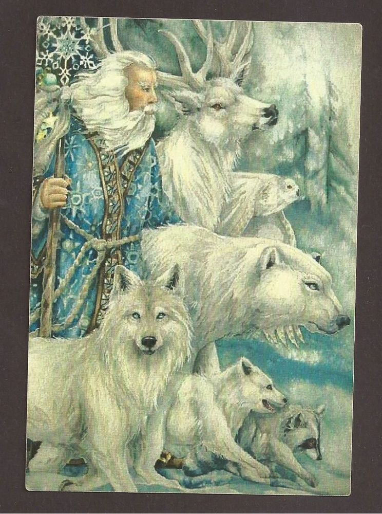 Santa Claus with White Wild Animals, Bear, Wolf, Deer, Postcard ...