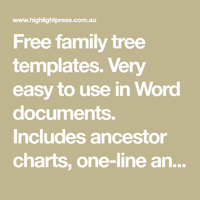 Free Family Tree Templates Very Easy To Use In Word Documents