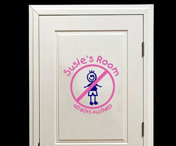 Personalized No Boys Allowed Room or Door Decal #vinyldecals #door #kidsrooms #noboysallowed #stickfigures