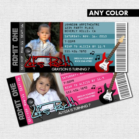 Concert Ticket Invitations Rock Star Birthday Party + Thank You Card And  VIP Pass (print Your Own) Printable PDF Files   Any Color Inside Concert Ticket Birthday Invitations
