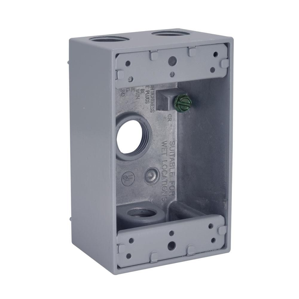1 Gang Weatherproof Box Four 1 2 In Threaded Outlets Gray Conduit Box Home Depot Electrical Supplies