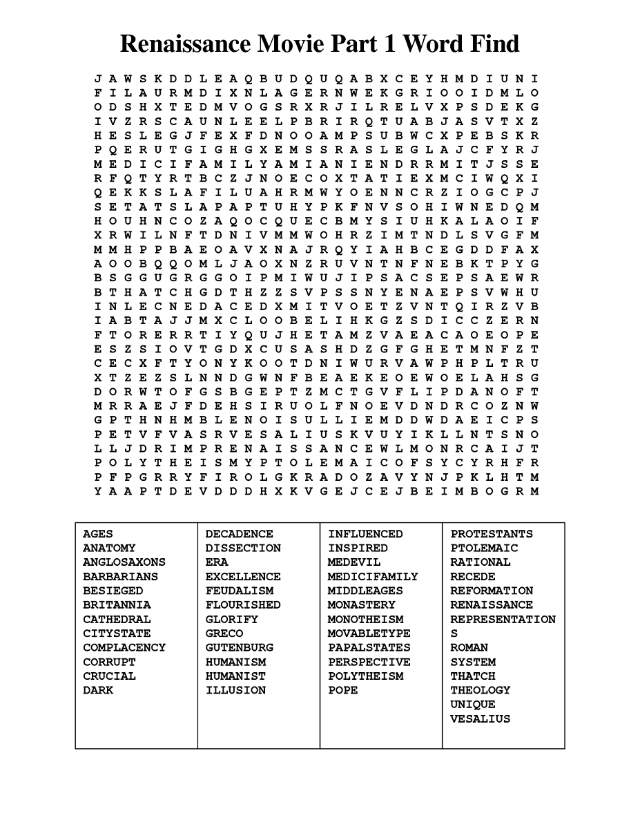 Movie Word Search Puzzle 2016 Kiddo Shelter Word