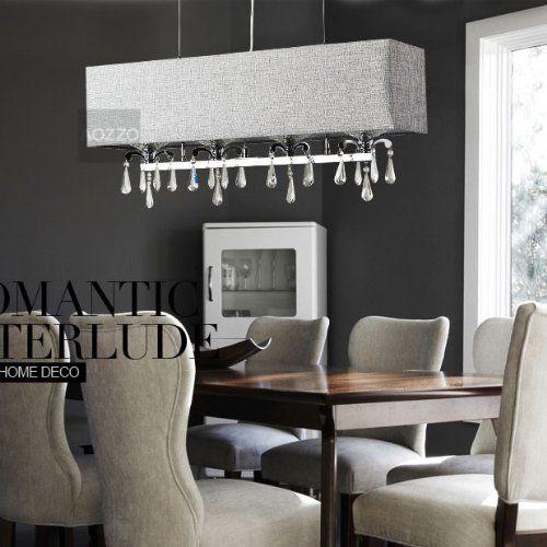 modern dining room crystal rectangle pendant light grey fabric lampshade kicthen. Black Bedroom Furniture Sets. Home Design Ideas