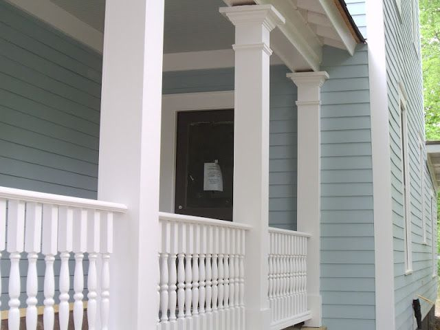 Blue Exterior Trim Paint Colors bm: wedgewood grey body, woodlawn blue ceiling, white dove trim