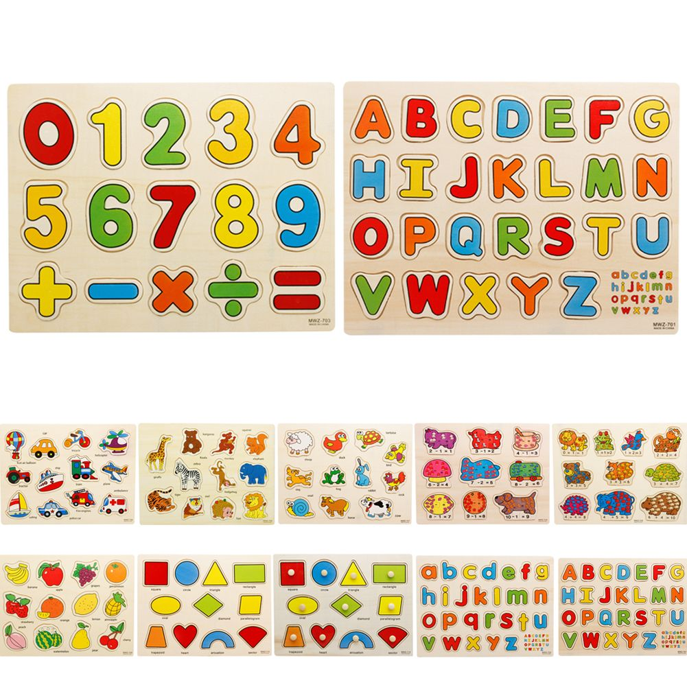 33cm Kid Wooden Toys Educational Toys Baby Hand Grasp Puzzle Toy Alphabet Digit Animal Learning Education Child Wood Jigsaw Toy