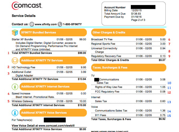 The Consumerist Guide To Understanding Your Comcast Bill Comcast Cable Companies Internet Phone