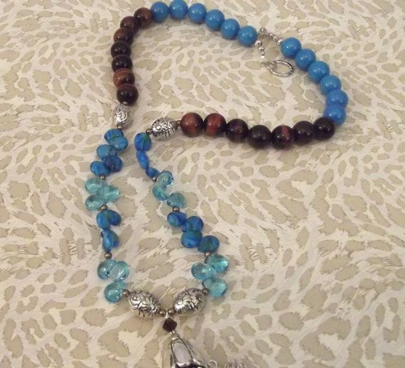 Tiger Eye Necklace Blue Necklace Blue and Brown Necklace