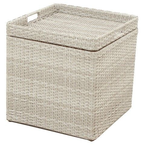 Pleasant Wicker Storage Patio Accent Table Gray Threshold Edited Ocoug Best Dining Table And Chair Ideas Images Ocougorg