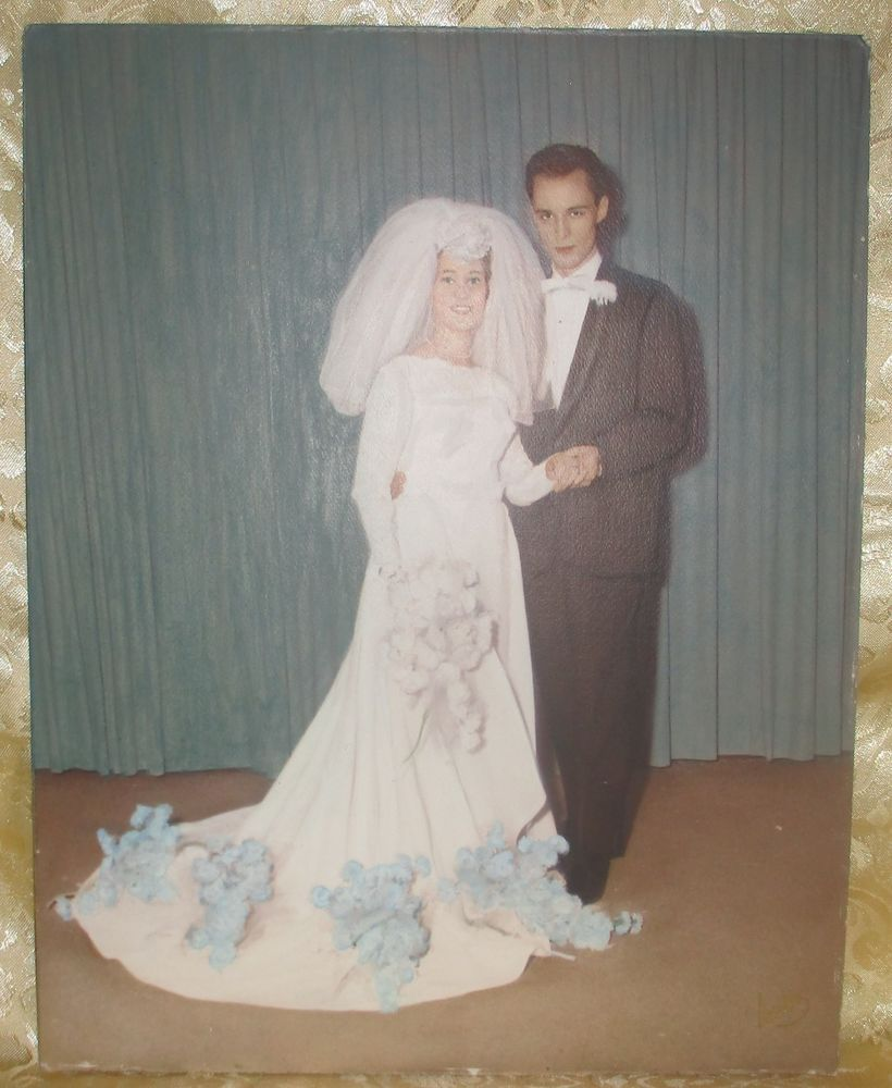 Large vintage colorized bride and groom wedding photo fabulous gown