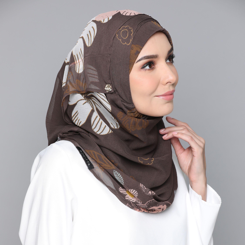 Kroj Brown-Printed Smooth Chiffon  Beautiful hijab, Hijab