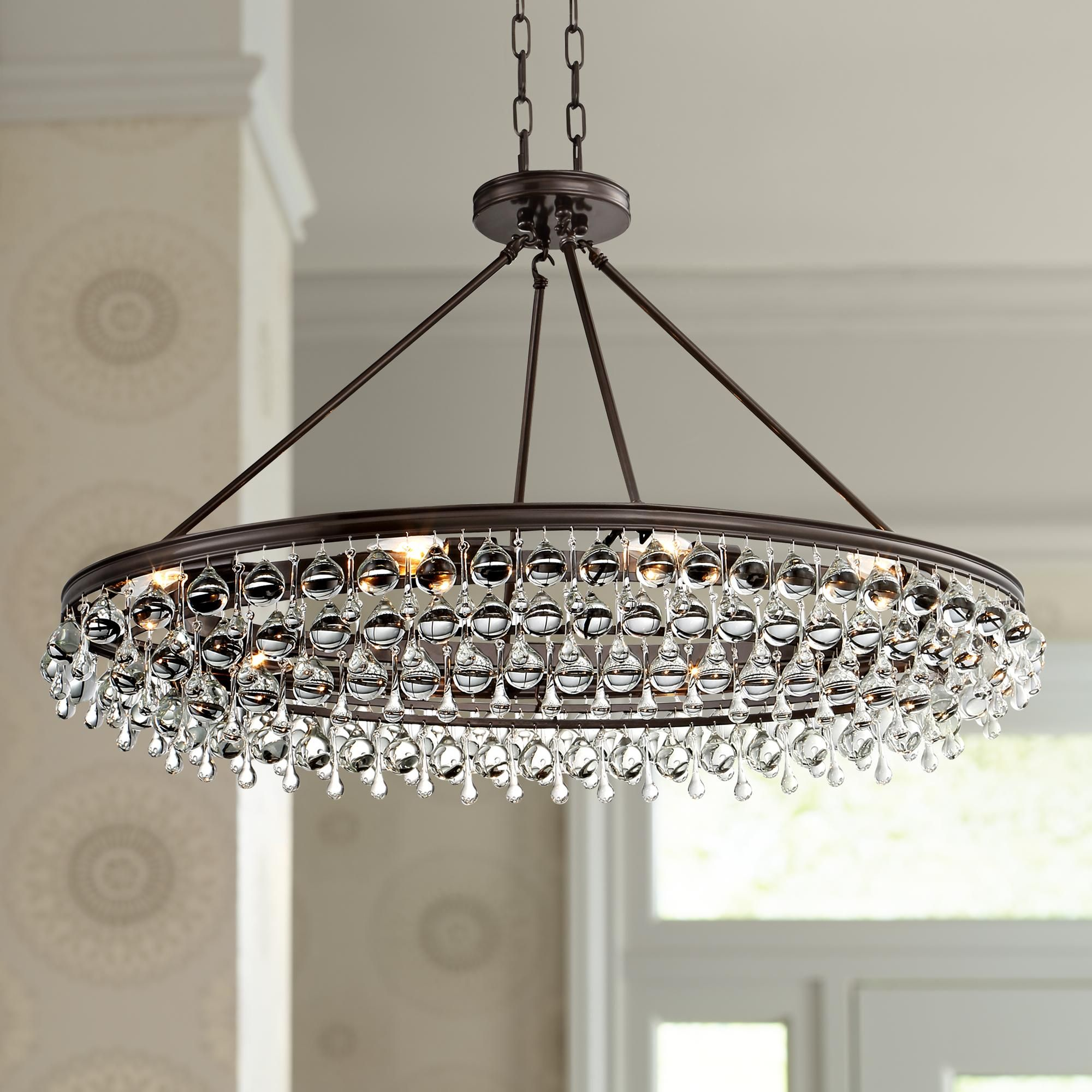 "Crystorama Calypso 40"" Wide Bronze Oval Island Chandelier"