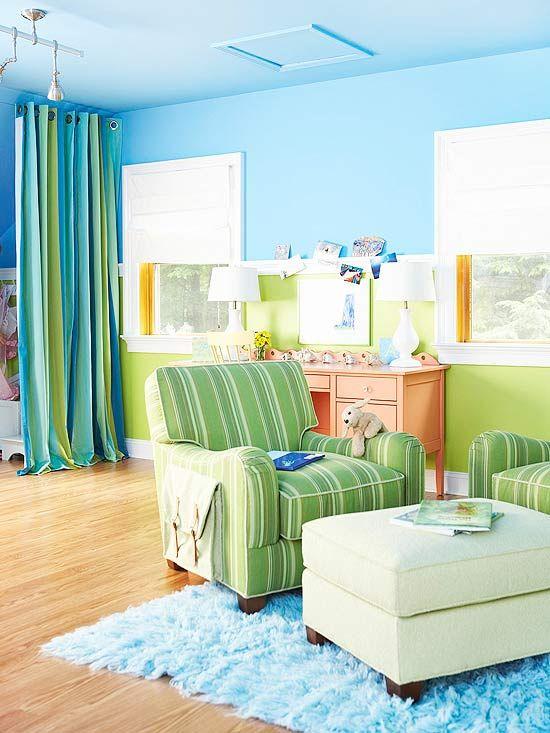 playful color scheme sky blue green orange sky blue upper walls