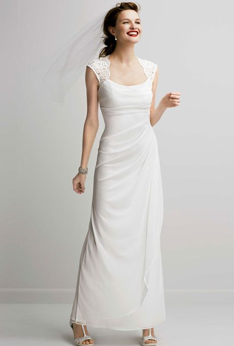 b118caa61472 Brides  DB Studio . Lace cap sleeve long jersey dress. See More DB Studio  Gowns