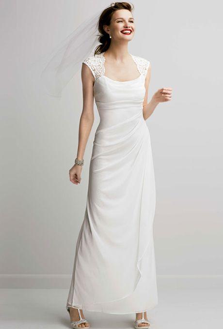 Brides Db Studio Lace Cap Sleeve Long Jersey Dress See More Gowns At David S Bridal