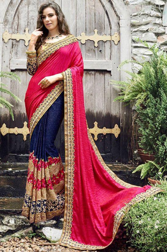 6050b4e1f96d Tantalizing Navy Blue and Rani Pink Saree. Tantalizing Navy Blue and Rani  Pink Saree Online Shopping Sarees