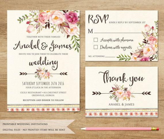 invitación de boda floral. invitación de boda para imprimir, Wedding invitations