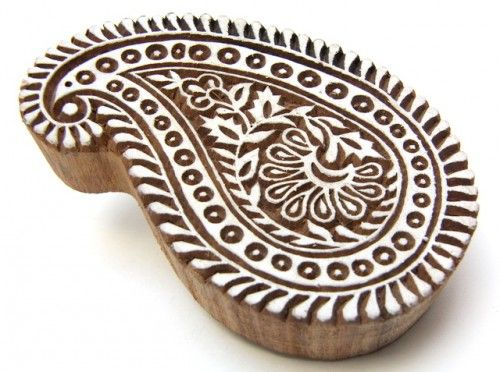 Double color wooden stamps print making block stamping textile fabric design paisley design.