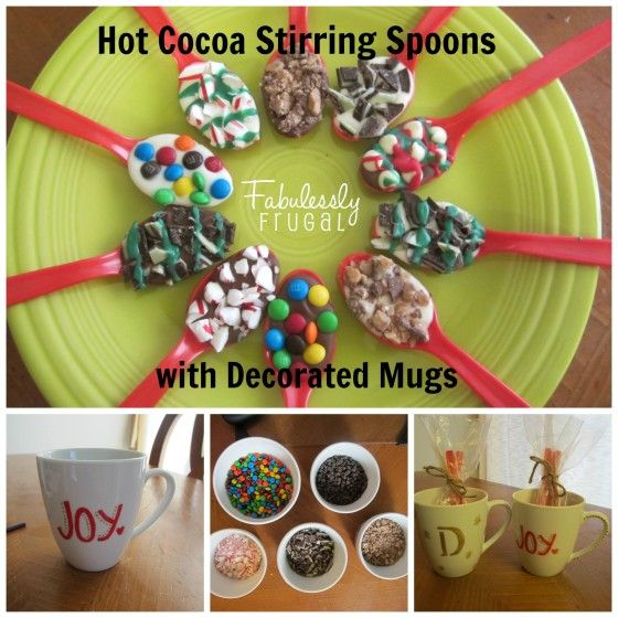 Hot Cocoa Stirring Spoons & Decorated Mugs
