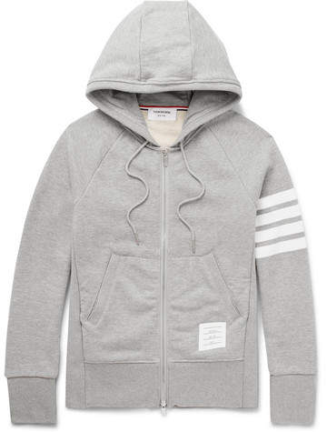 6ae06a245 Thom Browne Striped Loopback Cotton-Jersey Zip-Up Hoodie | Products ...