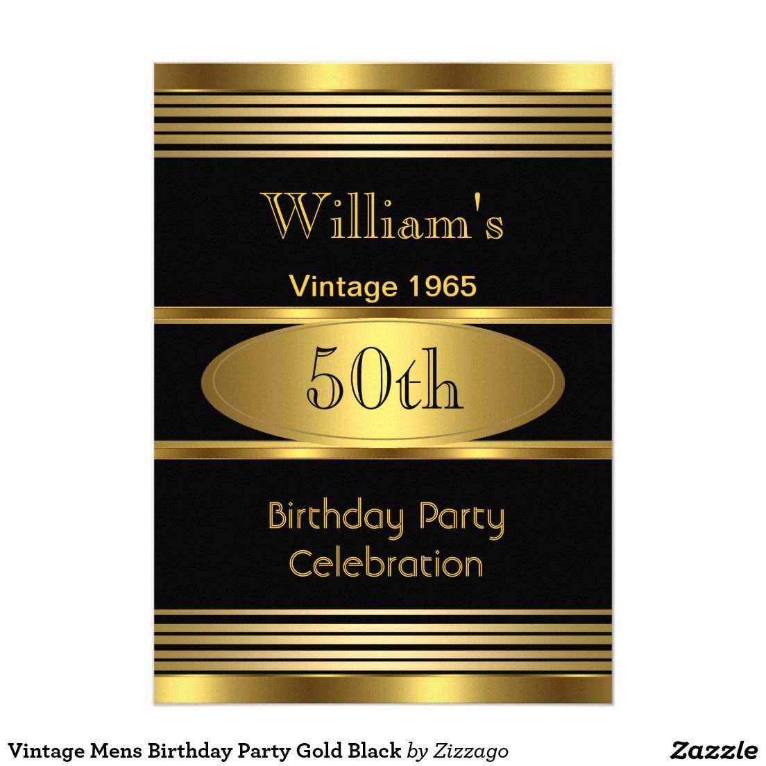 Vintage Mens Birthday Party Gold Black Card