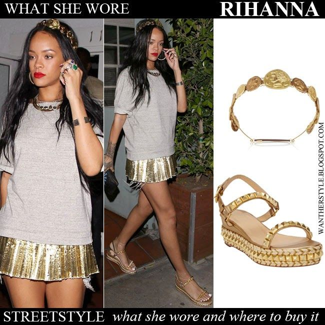 c6ac7cc3772 WHAT SHE WORE  Rihanna with gold coin headband and gold platform ...