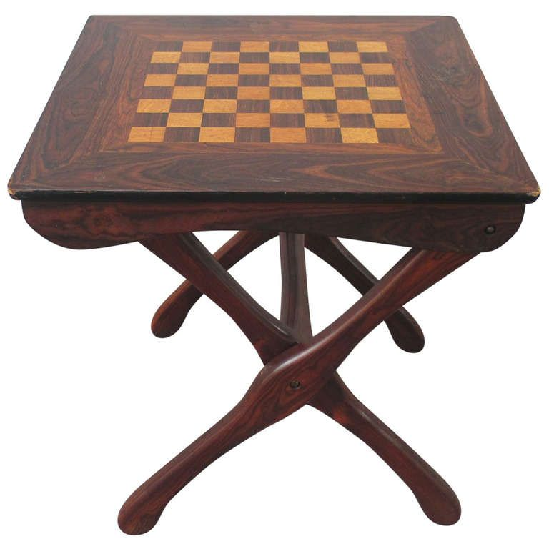 Don Shoemaker Folding Chess Table Tropical Woods. For DH