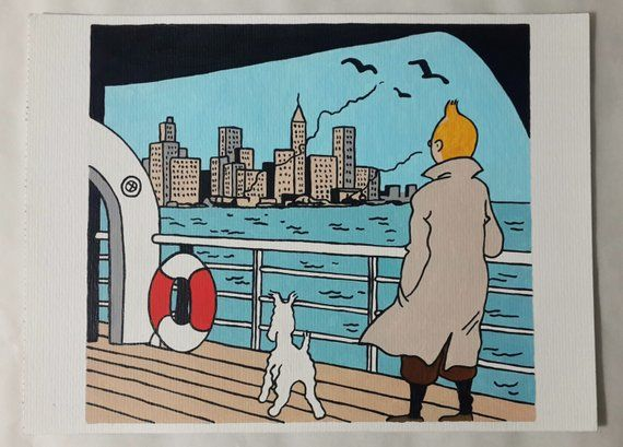 Tintin And Milou Snowy Painting Tintin Comic Painting 8x11