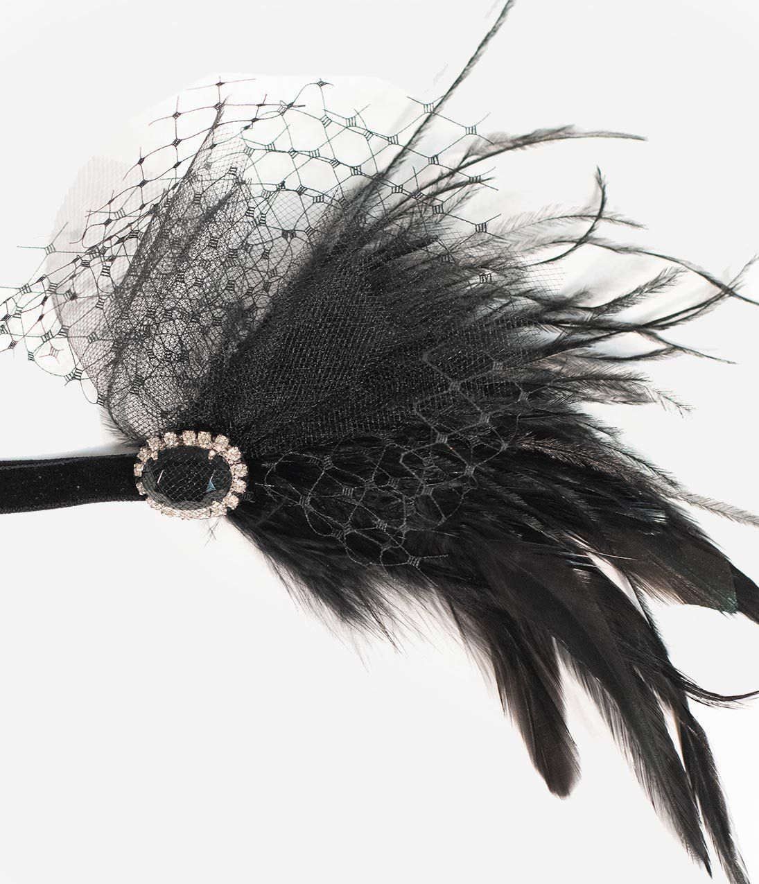 836fc903943 Black Gemstone   Feather Elastic Flapper Headband – Unique Vintage