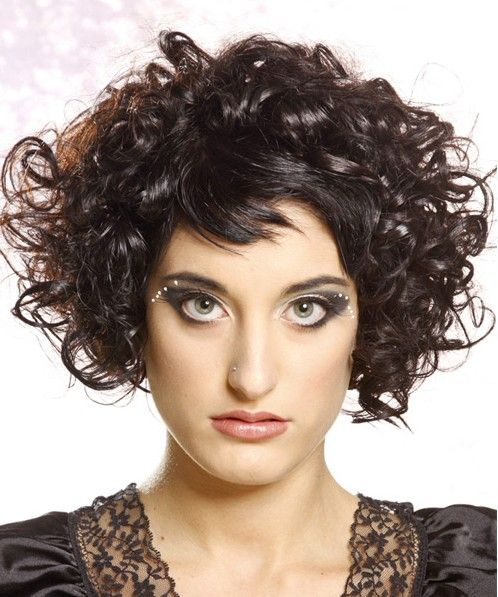 Short Natural Curly Hair Rockabilly Women Hairstyles