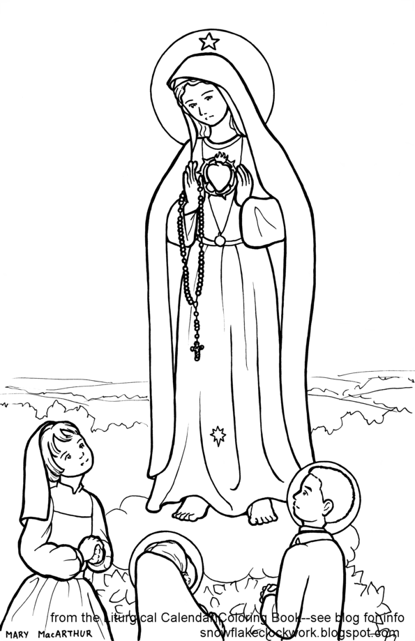 Snowflake Clockwork Our Lady of Fatima coloring page and