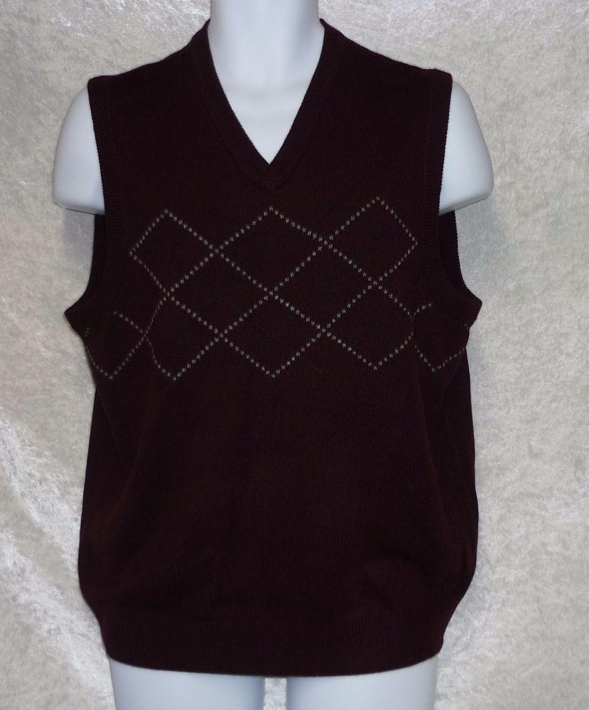 Dockers Mens Sweater Vest argyle easy care burgundy acrylic size ...
