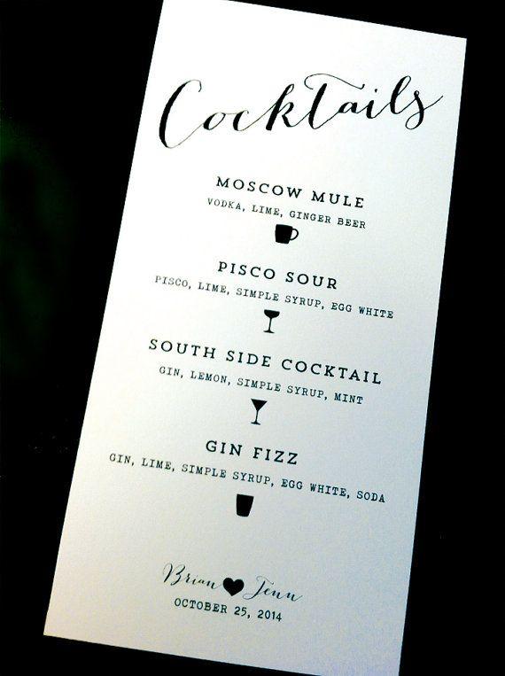 Printed / Cocktail Menu / Custom Color Wording & by