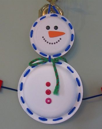 Cute and thrifty Snowman made of two paper plates & Cute and thrifty Snowman made of two paper plates | Winter crafts ...