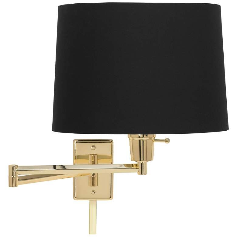 Black Fabric Drum Polished Brass Swing Arm With Cord Cover 17g36 Lamps Plus In 2020 Swing Arm Wall Lamps Drum Shade Wall Lamp